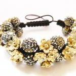 NEW Black & Gold Flower Shamballa Bracelet